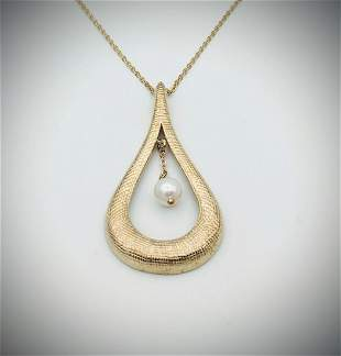 Necklace & Pear Shaped Pendant w Dangly Pearl