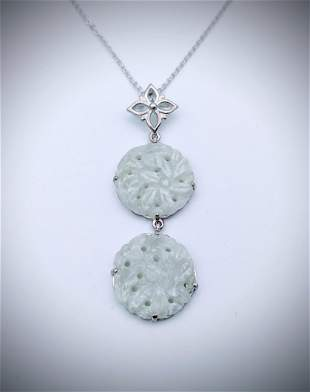 Necklace w Double Drop Jade Engraved Pendant in 925 SS