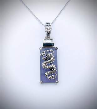 Necklace w Dragon Pendant w Violet Jade, Black Diamond,