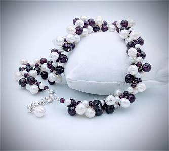 Sterling Silver Clustered Beads of Amethyst & Pearls