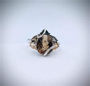 Sterling Silver Sz 7 Mali Garnet & Smokey Quartz Ring