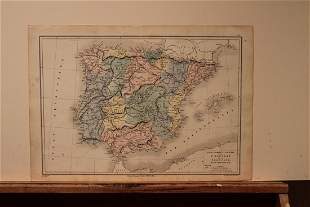 1869 Map of Spain and Portugal