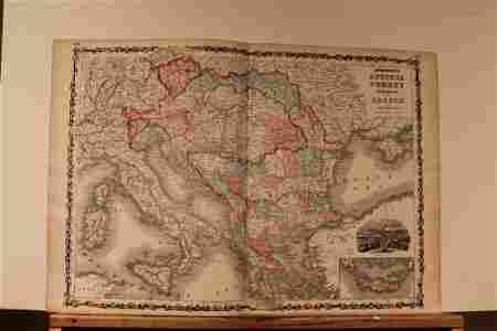 1864 Map of Austria, Greece and Turkey