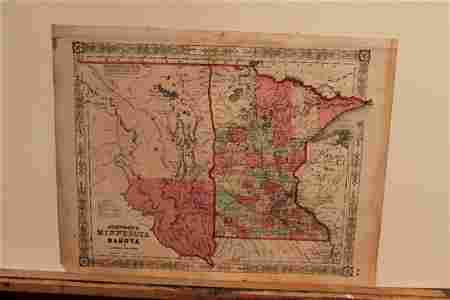 1859 Map of Minnesota and Dakota