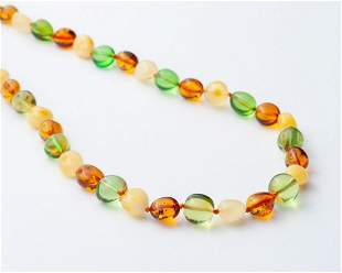 Caribbean Green and Natural Baltic amber Necklace