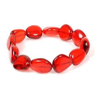 Precious Ruby Red Amber Bracelet