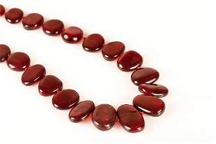 Precious Ruby Red Amber Necklace