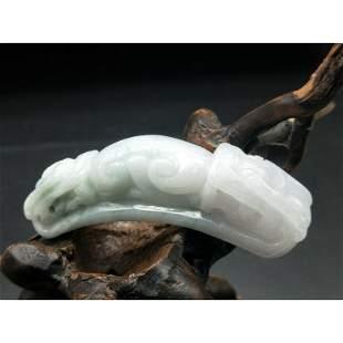 Chinese Handmade jade bending dragon pendant figure