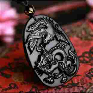 Natural Obsidian Hand carved dragon Phoenix pendant