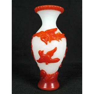 Chinese Carved Glass Vase Flower and Bird Handwork