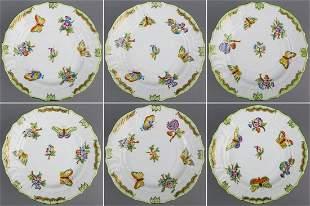 """Set of Six Herend Queen Victoria 6"""" Dessert Plates"""