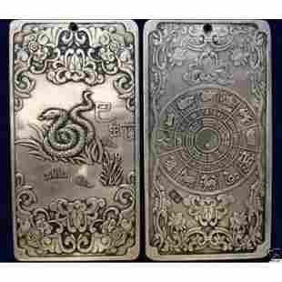 Old Chinese Tibetan silver zodiac snake amulet Bullion