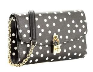 Dolce and Gabbana Padlock Polka Dot Clutch Chain Bag