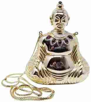 Judith Leiber Buddha Minaudiere Embellished Gold Tone