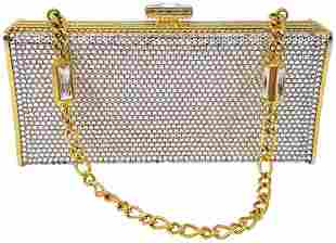 Judith Leiber Swarovski Clear Crystals Gold Leather
