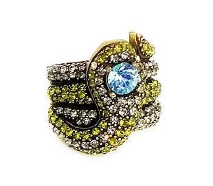 Heidi Daus Blue Eyed Rhinestone Snake Ring