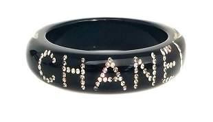 Chanel Black Enamel Crystal Diamond Rhinestone Bangle
