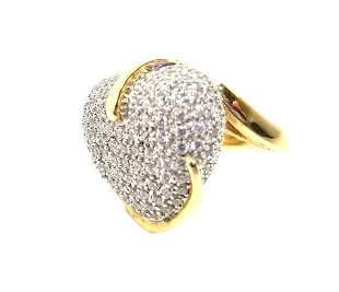 Sonia B 925 Silver CZ Rhinestones Encrusted Heart Ring