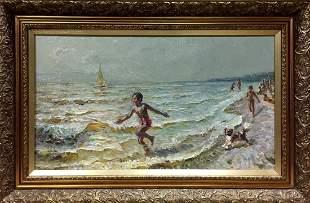 Oil painting Children at sea Zhezher Anatoly