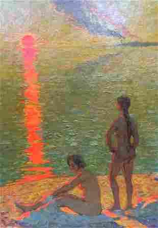 Oil painting Naked girls near the shore