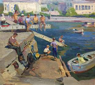 Oil painting People at the ferry Kobylenkov Mikhail