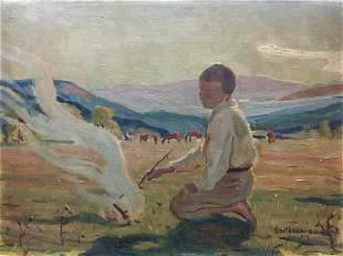 Oil painting Portrait of a boy Bartkowski Anton