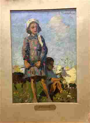 Oil painting Kids with goats Yuzefovich Natalia