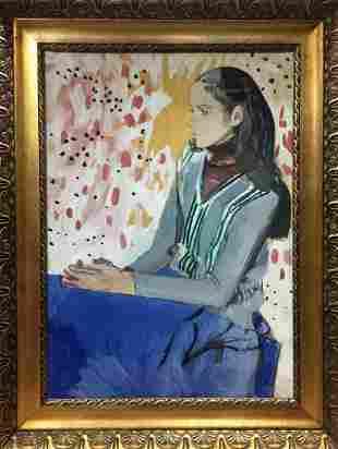Gouache painting Portrait of a girl Zaretsky Victor