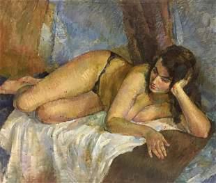 Oil painting Portrait of a naked girl Galdetskaya