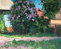 Oil painting Lilac blooms in the garden Tsyupka Ivan