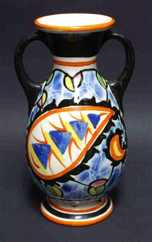 Vintage Hand Painted Art Pottery Czech Flower Vase