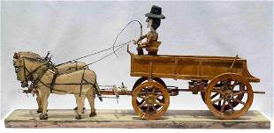 Horse and Wagon Carved assemblage