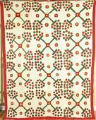 Red & Green Berries Applique Quilt c. 1900