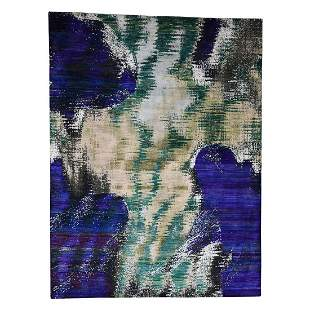 Silk with Abstract Design Hand-Knotted Oriental Rug