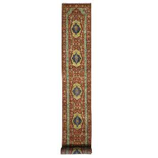 Red Antiqued Heriz Pure Wool XL Runner Hand Knotted