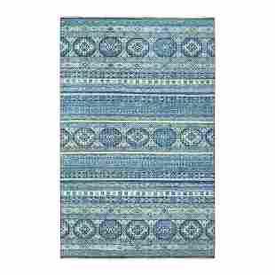 Blue Super Kazak Khorjin Design Pure Wool Hand Knotted