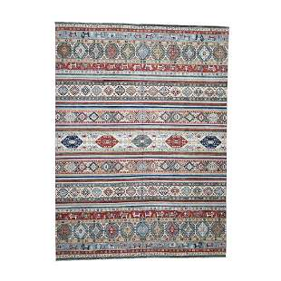 Super Kazak Khorjin Design Hand-Knotted Pure Wool