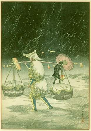 Takahashi Shotei (Hiroaki): Peddler in the Snowy Night