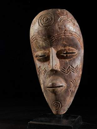 Dan Face Mask with typical scarifications ,Ivory Coast