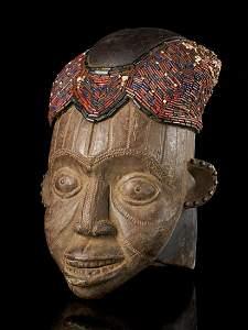Beaded Helmet Mask-Copper covered Face