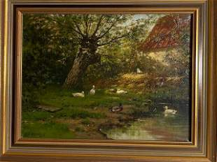 Antique oil painting on canvas Dutch masterpiece by