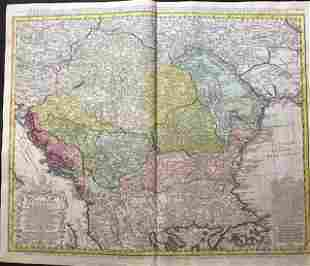 Kingdom of Hungary and northern Balkans. 1762 by Homann
