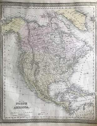 North America. With Alaska as a part of Russia. 1850 by