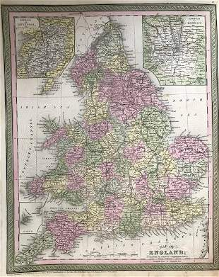 England with insert of London & Liverpool. 1850 by