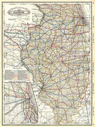 Railroad and County Map of Illinois.