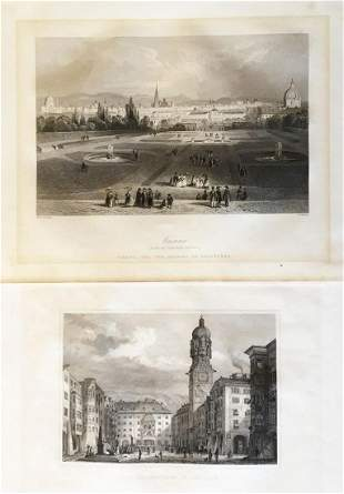 Two mid-1800s Austrian City Views: Vienna & Innsbruck