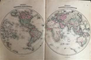 1861 World in double hemisphere
