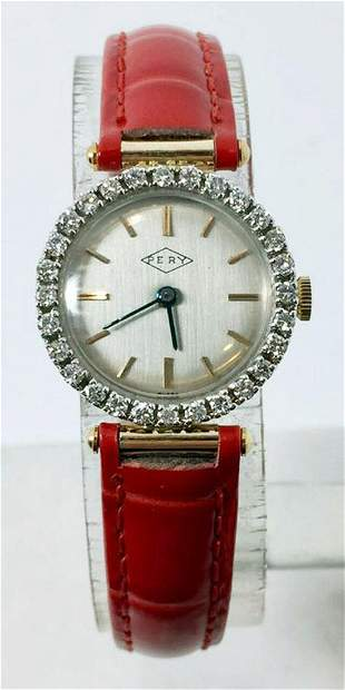 Solid 14k PERY 17J Winding Ladies Watch w/Diamonds*