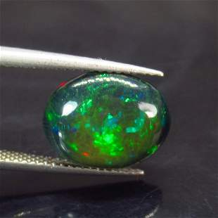 3.16 Ct Natural Ethiopian Black Fire Opal Oval Cab