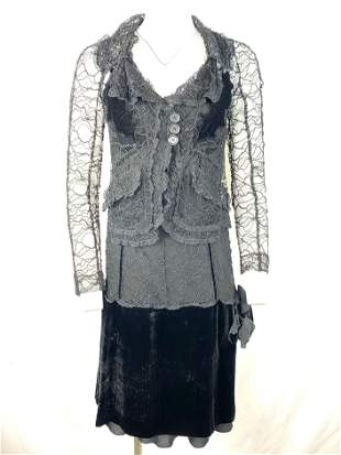 Vintage Sonia Rykiel Black Lace and Velvet Slip Dress